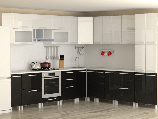 Кухня Черный/Белый металлик