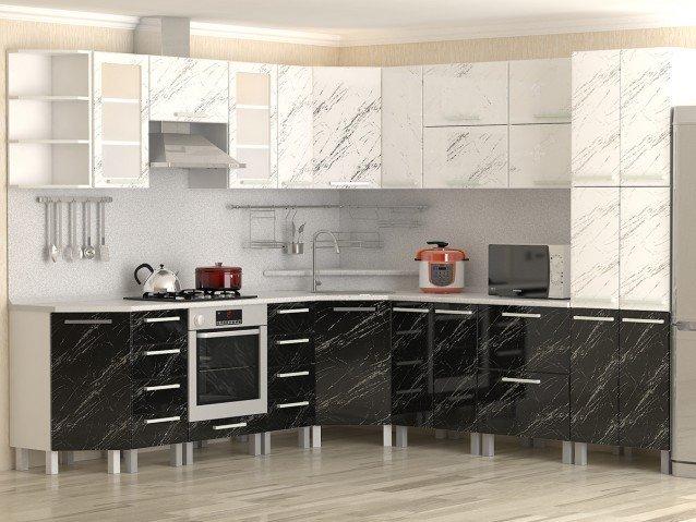 Кухня Молния черная и белая
