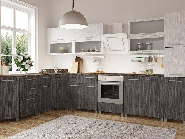 Кухня Серебро белое/серебро чёрное