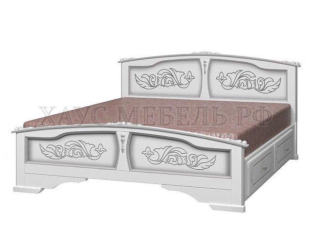 Кровать Елена Белый жемчуг с ящиками