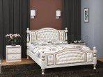 Кровать Жасмин Дуб молочный/светлая экокожа