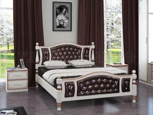 Кровать Жасмин Дуб молочный/тёмная экокожа
