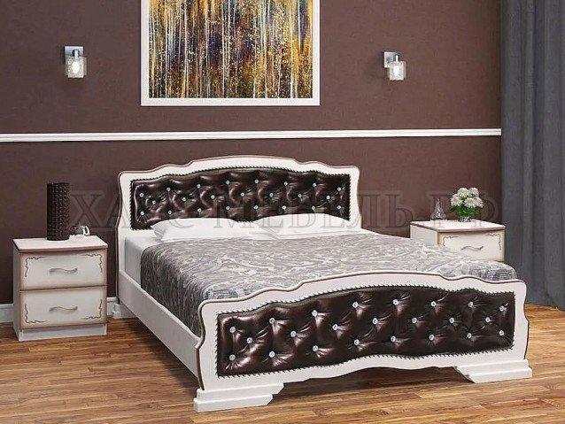 Кровать Карина 10 Дуб молочный/тёмная экокожа