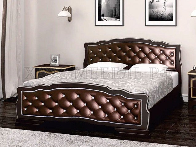 Кровать Карина 10 Орех тёмный/бриллиант