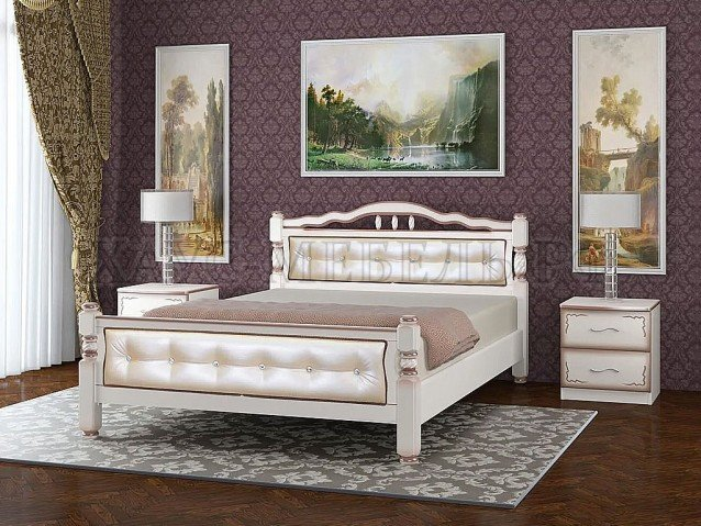 Кровать Карина 11 Дуб молочный/светлая экокожа