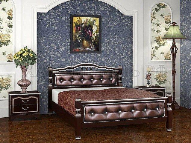 Кровать Карина 11 Орех тёмный/бриллиант
