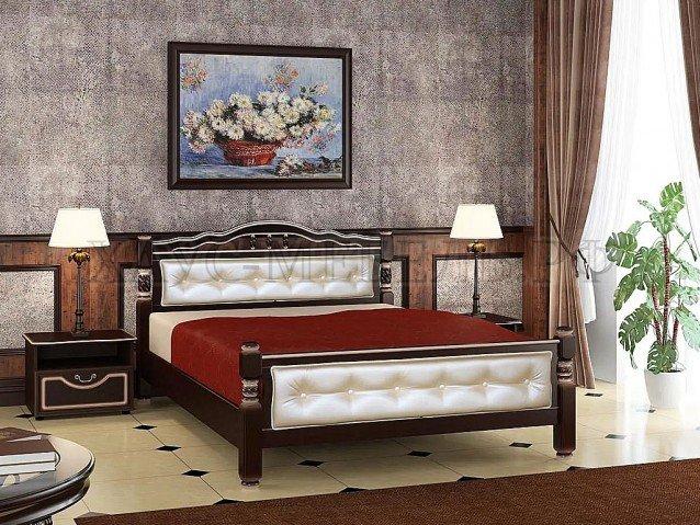 Кровать Карина 11 Орех тёмный/светлая экокожа