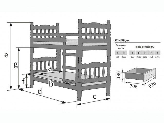 Кровать Джуниор двухъярусная орех