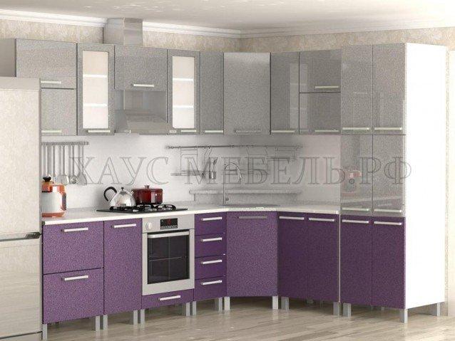Кухня Серый металлик/фиолетовый металлик