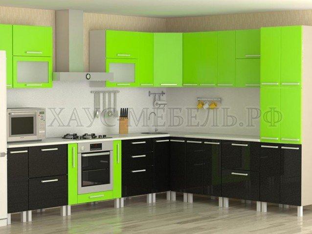 Кухня Лайм/Черный металлик