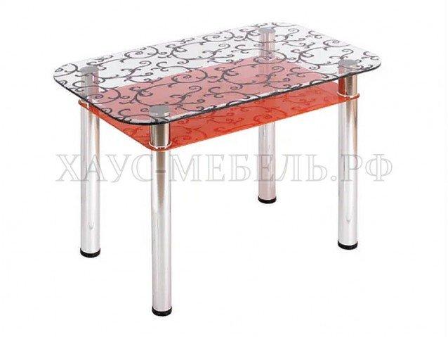 Стол обеденный Прозрачный оранжевый с полкой