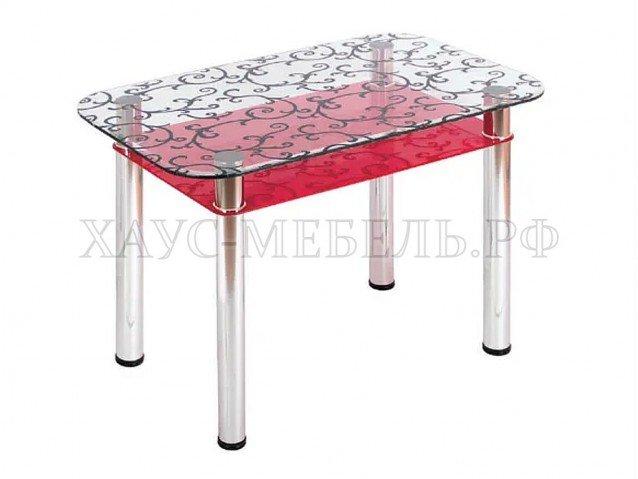 Стол обеденный Прозрачный красный с полкой
