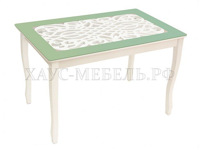 Стол обеденный Стиль 2 Ажур оливковый/триумф белый