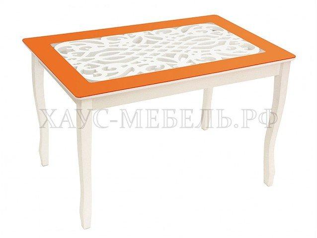 Стол обеденный Стиль 2 Ажур оранжевый/триумф белый