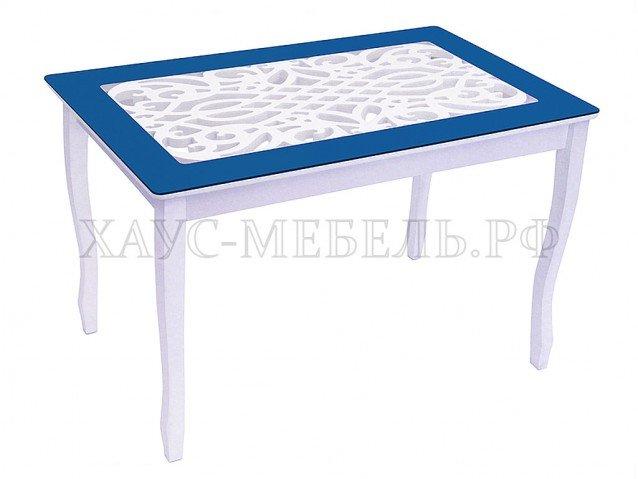 Стол обеденный Стиль 2 Ажур синий бархат/триумф белый