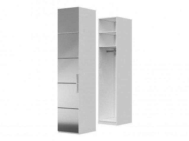 Шкаф ШР-1 с зеркалом Вива Белый глянец/Платина