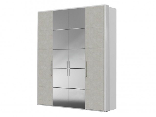 Шкаф ШР-4 ( зеркало + ткань ) Вива Белый глянец